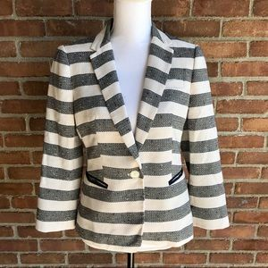 The Limited Blazer Stripe Blue & White Button